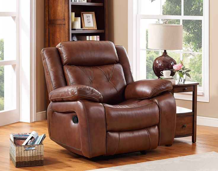 Benedict Light Brown Grain Leather Hardwood Plywood Glider Recliner