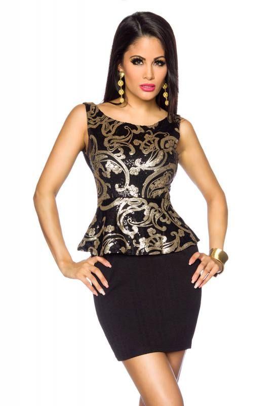 #Pailletten #Vintage #Kleid Schwarz/Gold - My-Kleidung Onlineshop