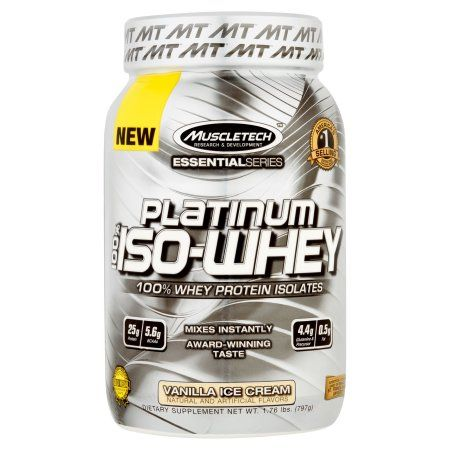 MuscleTech Essential Series Platinum 100% Iso-Whey Vanilla Ice Cream Dietary Supplement Powder, 1.76 lbs, Brown