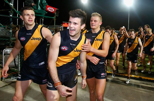 Brett Deledio, Trent Cotchin and Brandon Ellis Round 16, 2013 - RICHMONDFC.com.au