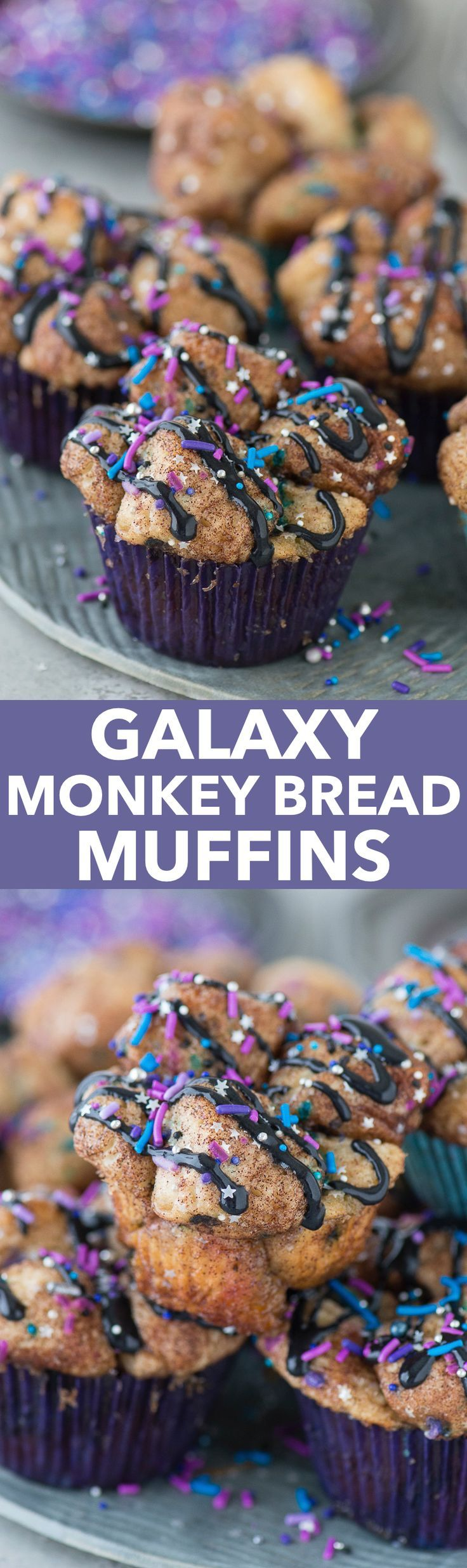 Monkey bread turned into muffins with galaxy sprinkles and black cream ...