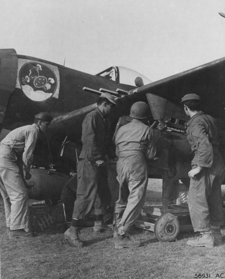 P-47 Thunderbolts Of The First Brazilian Fighter Squadron Receiving Their Fuel For The Next Mission.