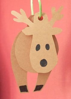 3D Reindeer, great to hang from the Christmas tree. Would be cute with a red nose Pom Pom and goggly eyes