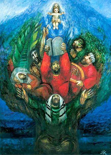 "Second Sunday of Advent | 2015 | Catholic Mass Readings | Stammbaum Jesu (Sieger Köder, © Sieger Köder) | Lc 3:6 | 'And all flesh shall see the salvation of God.'""."