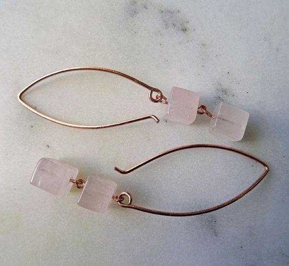 Rose Quartz drop earrings  pastel pink  pink stone earrings