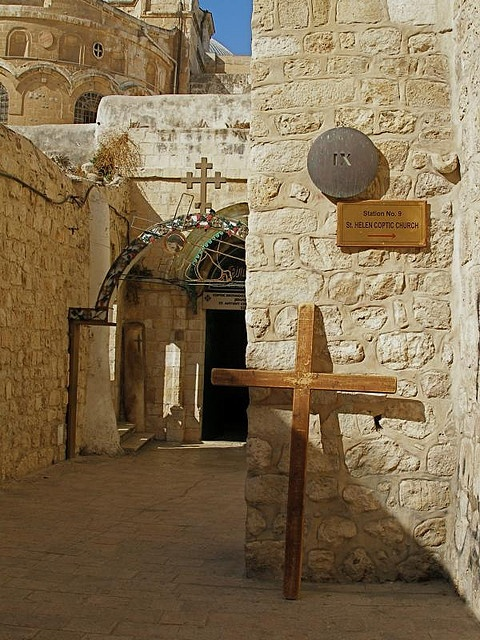 Via Dolorosa ninth station: Roman pillar in far corner marks Jesus' third fall.