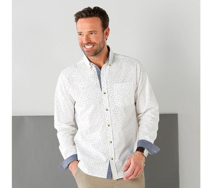 Košile s potiskem s detaily z plátna chambray | blancheporte.cz #blancheporte #blancheporteCZ #blancheporte_cz #panskamoda