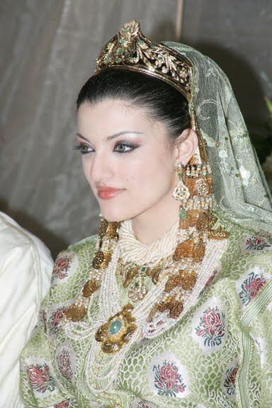 A very beautiful young woman wearing a typical wedding outfit from the capitol, Rabat. Photos laaroussates rbatiyates