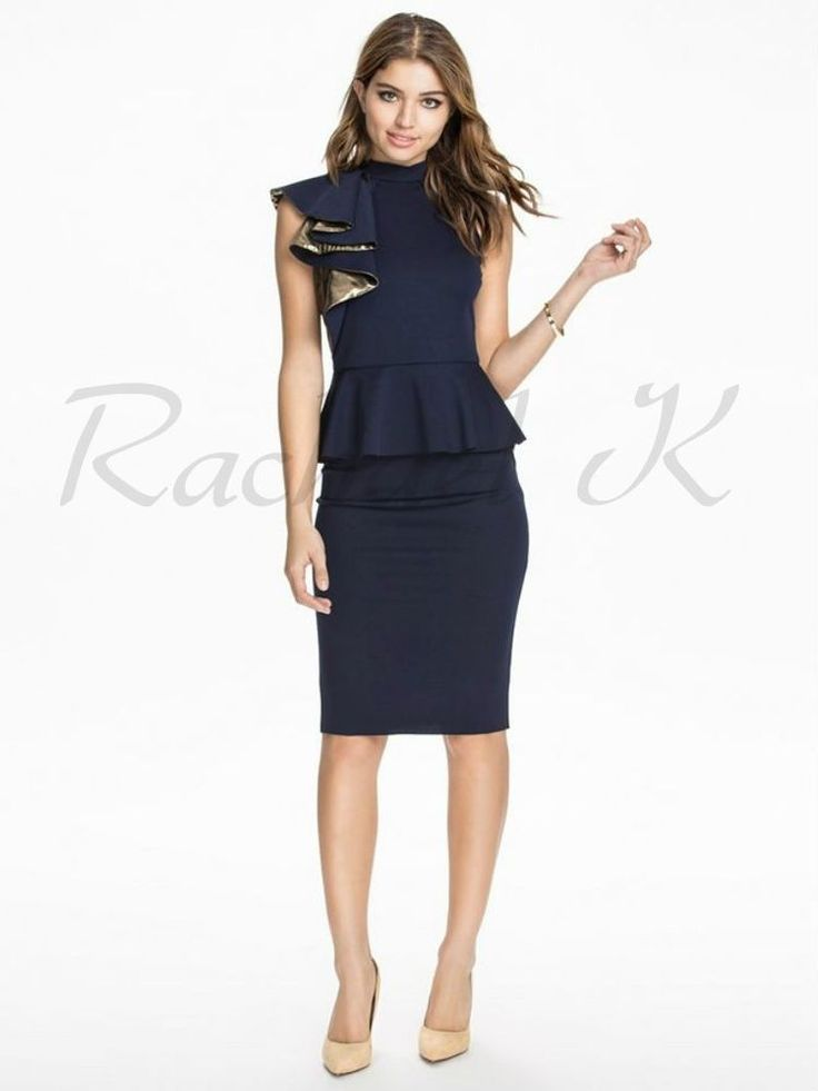 Sleeveless Peplum Elegant Below Knee Navy Blue Gold Ruffled Evening Work Dress