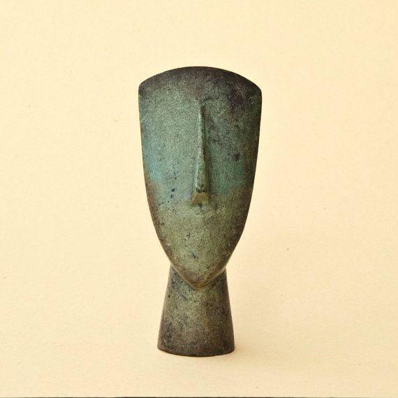 Abstract Metal Figurine Head Greek Art Metal Art by GreekMythos