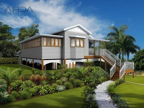 This two storey, four bedroom family home is modelled on a traditional Queenslander style. Keeping with the traditional look, the front of the home is characterised by a high set facade with traditional Queenslander styling such as a two storey stairs entrance with a front porch. There are two carpark spaces (carport) drawn on the plan but no actual garage.  You can enter the home either on the ground floor level near the carport area or the actual front formal entrance to the home is on the…