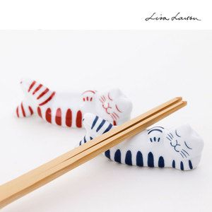 LisaLarson Lisa Larson Mikey chopstick rest Neruneko red, blue [Lisa Larson Lisa Larson tableware chopstick rest chopstick rest chopsticks every Hasami ware cutlery rest was placed set kitchen Japanese Tableware Tableware Nordic animal fashionable Nordic animal gift]