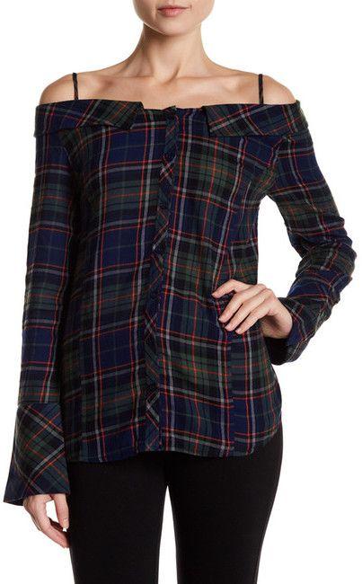 Abound Portrait Neck Cold Shoulder Flannel Tunic