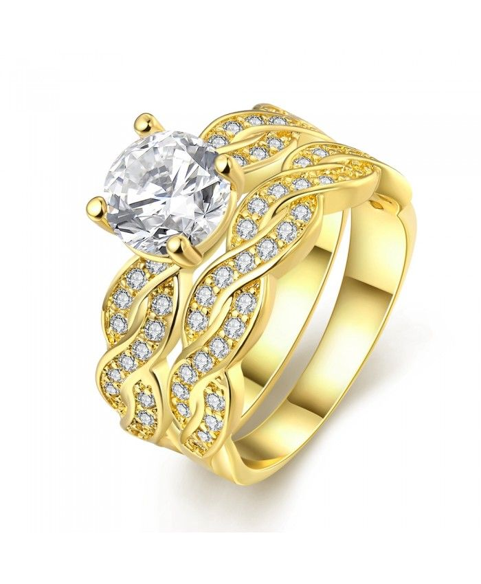 Ouruora 24K Gold Plated Twisted Bridal Ring Set With Clear CZ