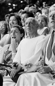 Pablo Picasso, his model (and future wife) Jacqueline Roque and Jean Cocteau at a bullfight, Vallauris, France, 1955, Brake, Brian (1927–1988)