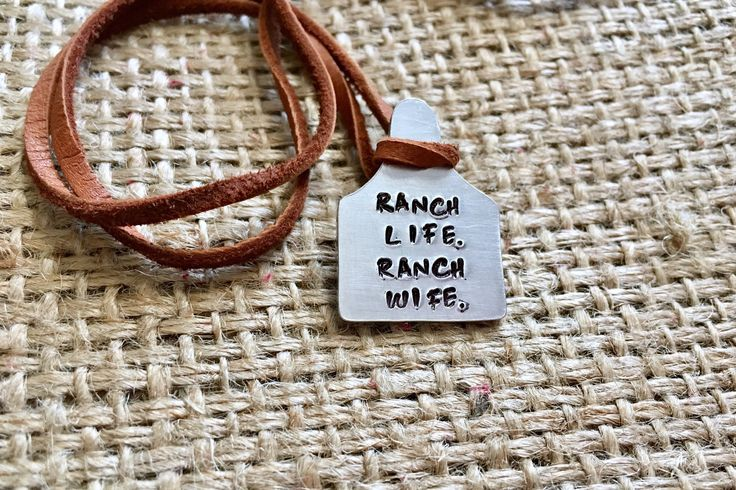 Cattle Ear Tag Ranch Wife Stock Show Stamped Cow Tag Suede Necklace