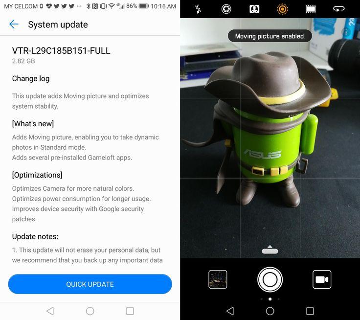 Kemaskini Fungsi Moving Picture Mula Diterima Peranti Huawei P10 Di Malaysia  Minggu lalu Huawei menjanjikan kemaskini kepada P10 dan P10 yang akan membawakan fungsi Moving Picture pada aplikasi kamera. Fungsi seakan Live Photo pada iPhone ini membolehkan gambar beranimasi diambil oleh peranti dengan dwi-lensa Leica ini.  Pengguna Huawei P10 di Malaysia sudah mula menerima kemaskini ini sejak awal pagi tadi. Kemas kini sebesar 2.82 GB ini turut memberikan penambahbaikan kepada sistem peranti…