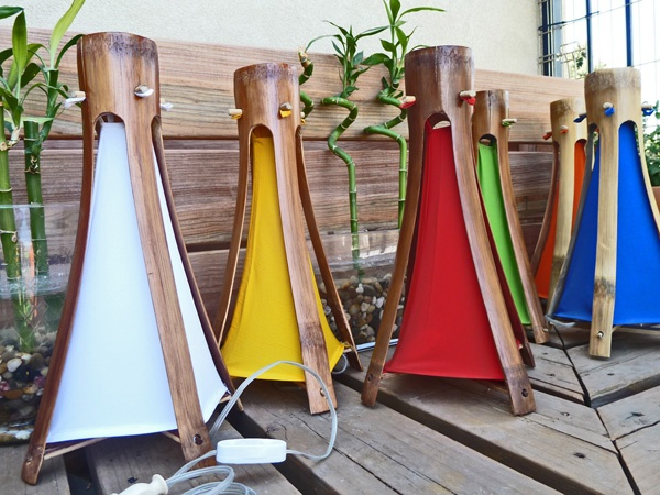 """""""GUADUA"""" Big bamboo Lamps from Colombia! $45. with fabric and Plug in switch. See colors available on this picture: White, yellow, red, green, orange and blue."""