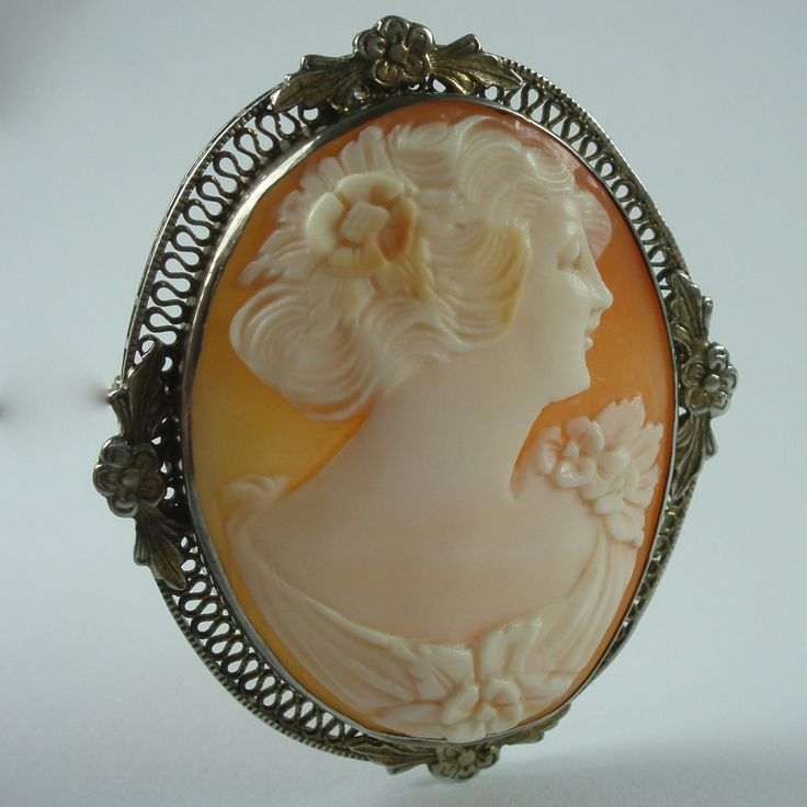 Vintage 1920s Sterling Carnelian Shell Cameo Brooch & Pendant