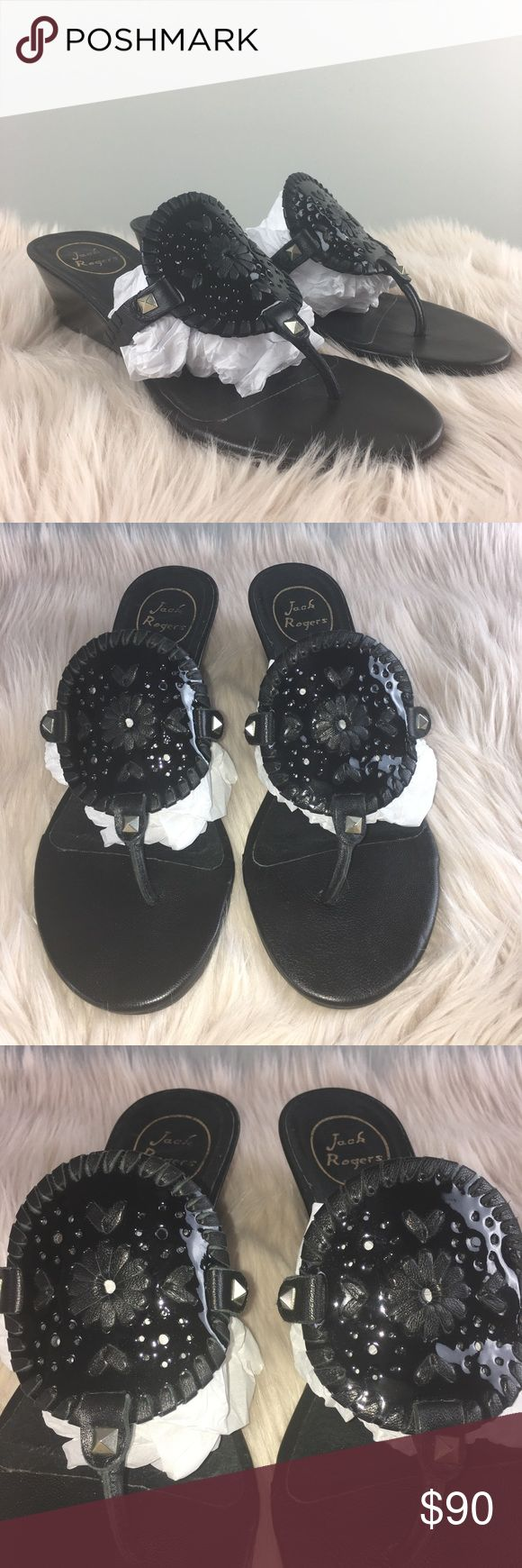 """Jack Rogers Mid Wedge Sandal Jack Rogers """"Devyn"""" Mid Wedge Sandal. Black With Stud Detail. The size wore off the Sticker, so I measured the Footbed and I would say 10 1/4"""" would be the Footbed area. You can view the picture and decide for yourself! There may be a conversion chart online to help out! I would like to say these are a 9. Please ask any questions prior to Purchase if Unsure. 2"""" Wedge Heel. Perfect for the Spring Summer!! Jack Rogers Shoes Sandals"""