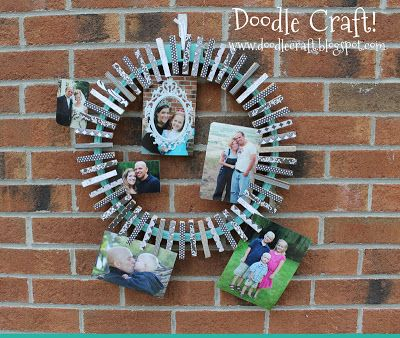 Doodle Craft...: Upcycled Embroidery hoop and clothespin photo wreath!