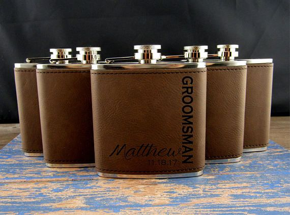 Groomsman Flask Set of 6Personalized Flask Engraved Hip