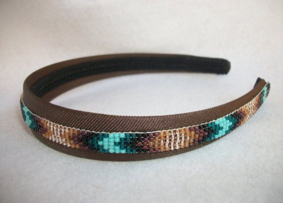 Hand Beaded Headband  Turquoise  Faded Brown Brown by BeadedWillow, $24.50