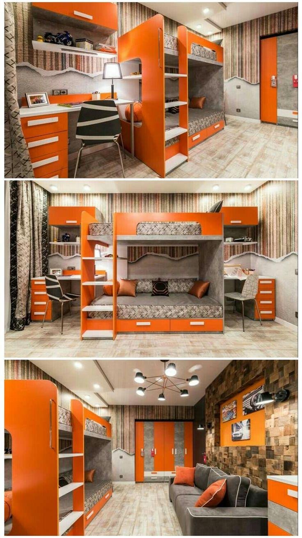 Orange kids room for boys or girls with twin bunk bed Оранжевая детская для мальчиков или девочек с двухъярусной кроватью и рабочими местами