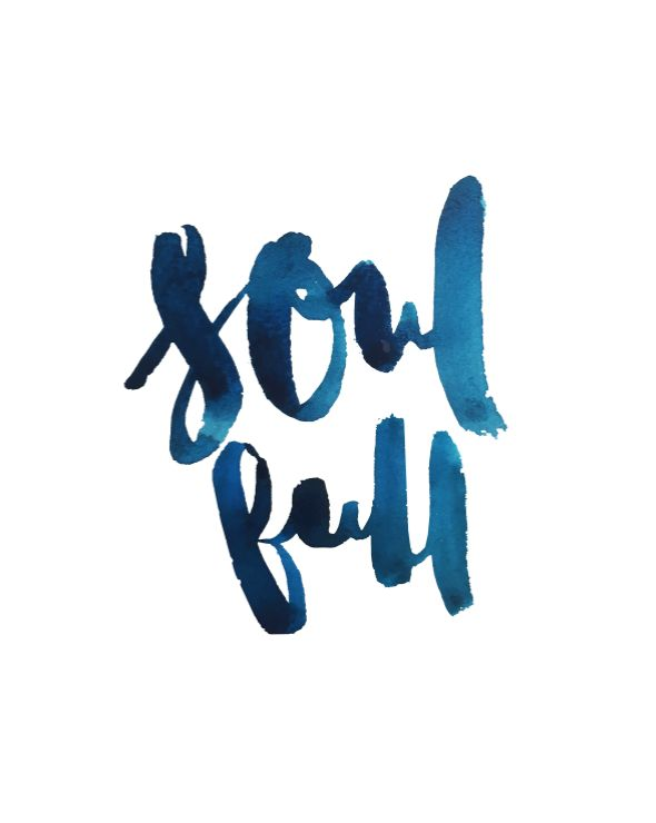 Full of Soul. Vasco Morelli. Indigo ink/watercolor hand illustrated typography/calligraphy.
