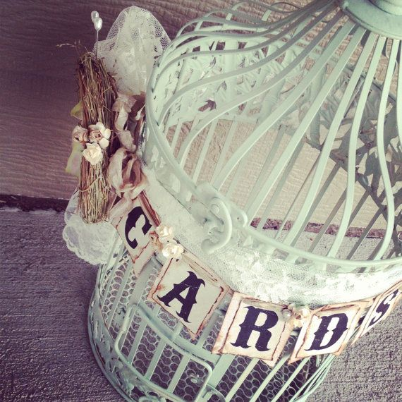 Mint Wedding Birdcage Card Box Card Holder Rustic by ShabbyScrap, $90.00