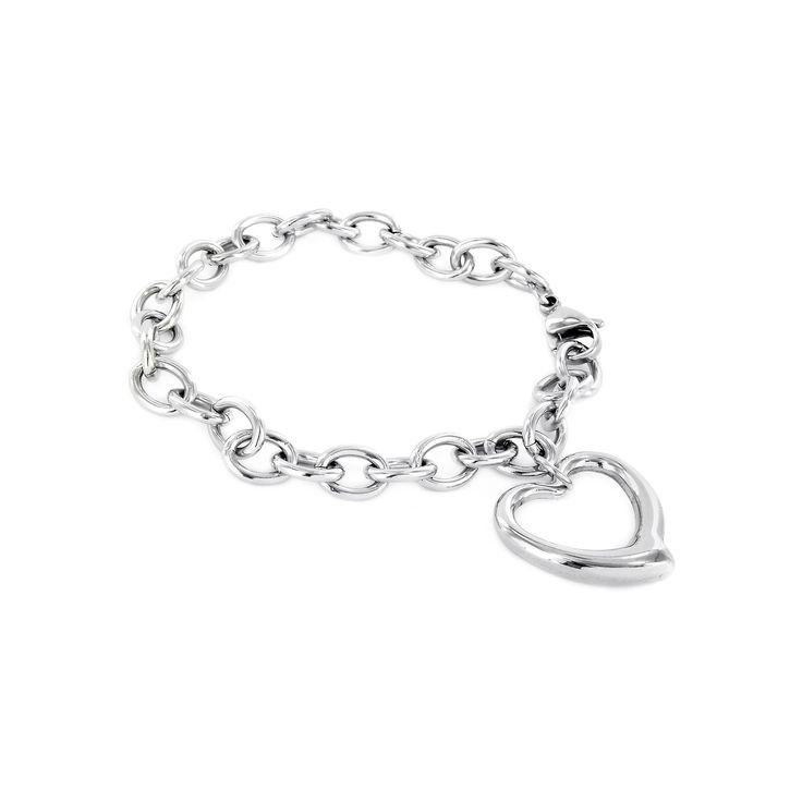 Elya Stainless Steel Chain Bracelet with Heart Dangle, Women's, Silver
