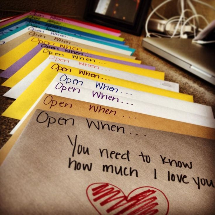 """Through """"open when . . ."""" letters. Give a bunch of letters (wrapped up very prettily in a box, right?) with """"open when . . . __________"""" written on and put money into those. Le example: """"Open when . . . you're feeling blue and you want chocolate"""" and like a pound coin; """"Open when . . . you want to go to the cinema"""" and wehay a tenner. Do you get the gist?"""