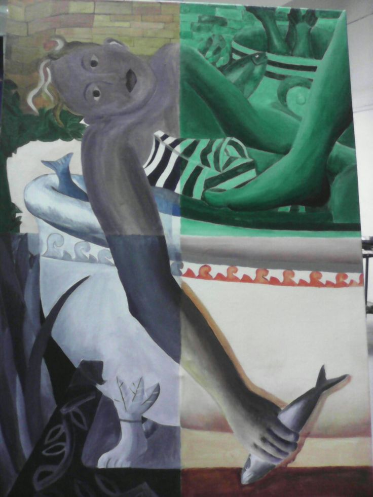 The painting of marat and the fishes. Just cropped the corner