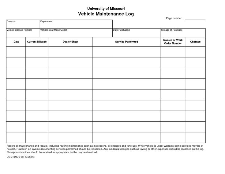 printable vehicle maintenance log template