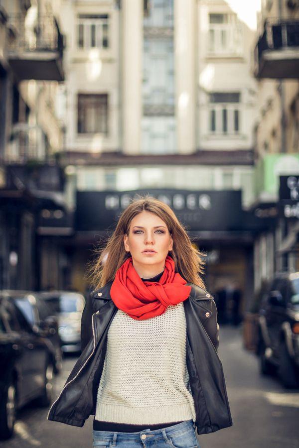 Autumn scarf portrait