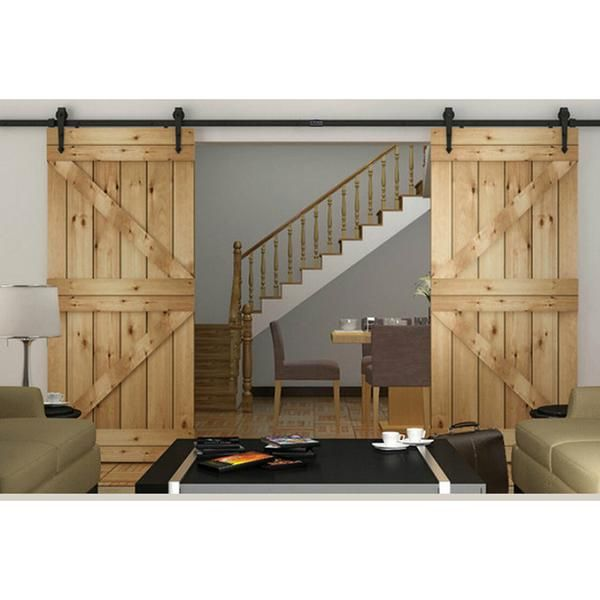 10ft Sliding Double Barn Wood Door Hardware Kit Arrow Sliding Door Hardware Double Sliding Barn Doors Double Barn Doors