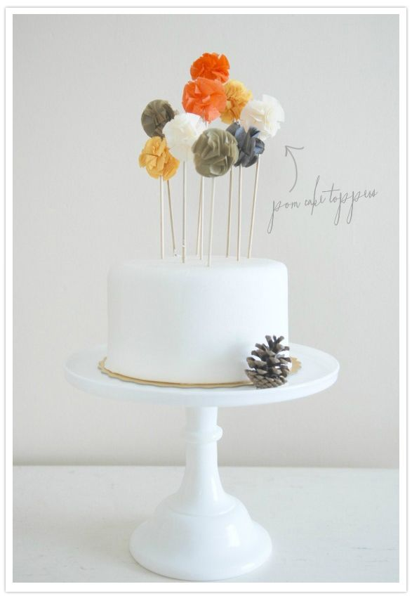 Pom cake toppers