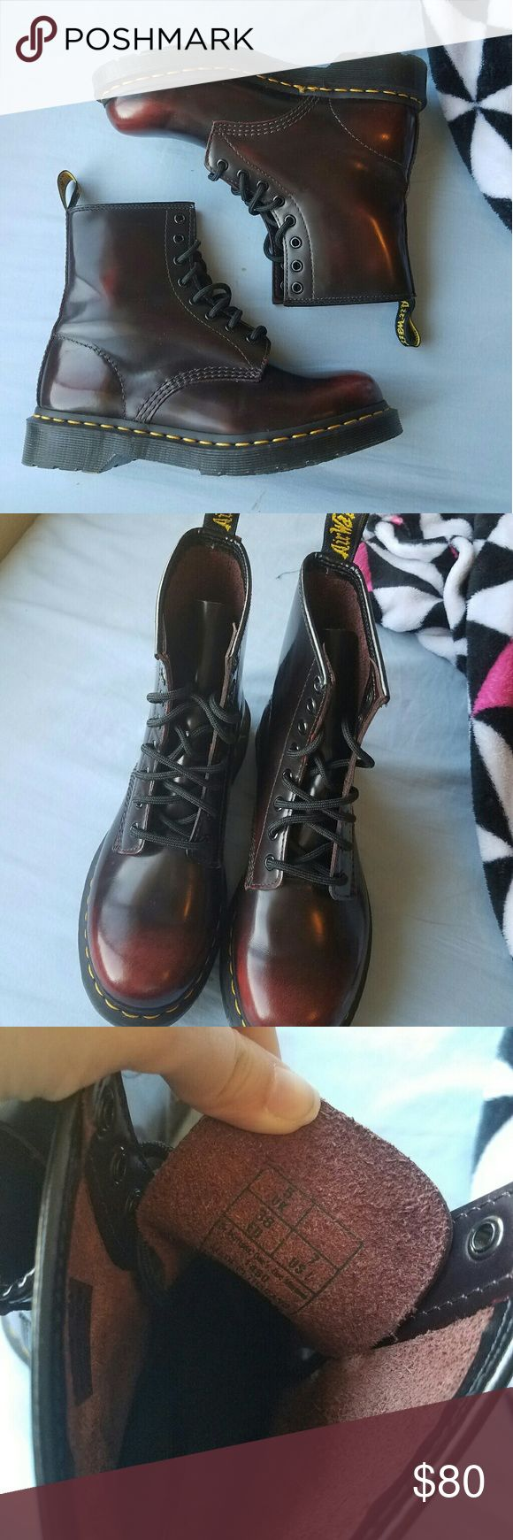 NWOB doc martens Some gorgeous doc Martens. These Dr Martens are absolutely amazing. They're like new (I legit bought them online, and tried them on for about ten minutes before I came to the realization I have too many shoes). They don't have the box, but they're flawless.  They're a black color with red undertones and ombr? effects. Size 7 . Dr. Martens Shoes Combat & Moto Boots