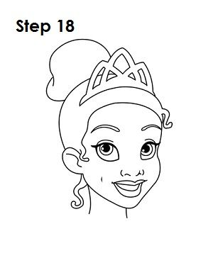 how to draw tiana step 18