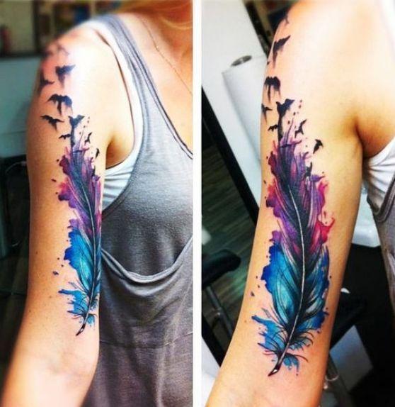 m s de 25 ideas incre bles sobre tatuajes de pluma de color en pinterest dise o de tatuaje de. Black Bedroom Furniture Sets. Home Design Ideas