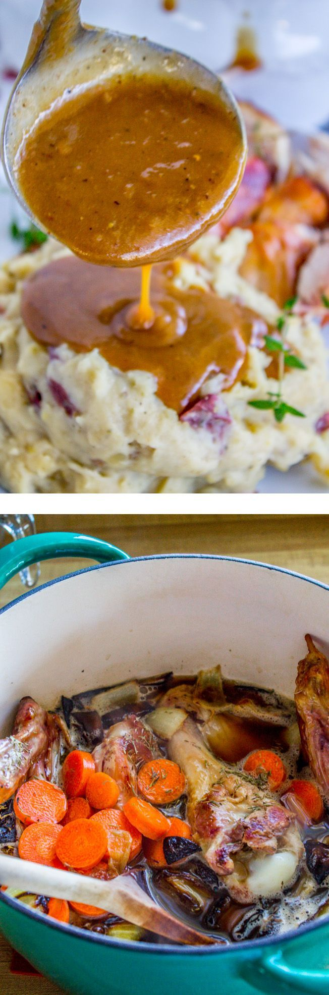 This make-ahead and freeze gravy is so easy, and saves tons of time and stress on Thanksgiving Day! No more scrambling at the last minute! From the Food Charlatan.