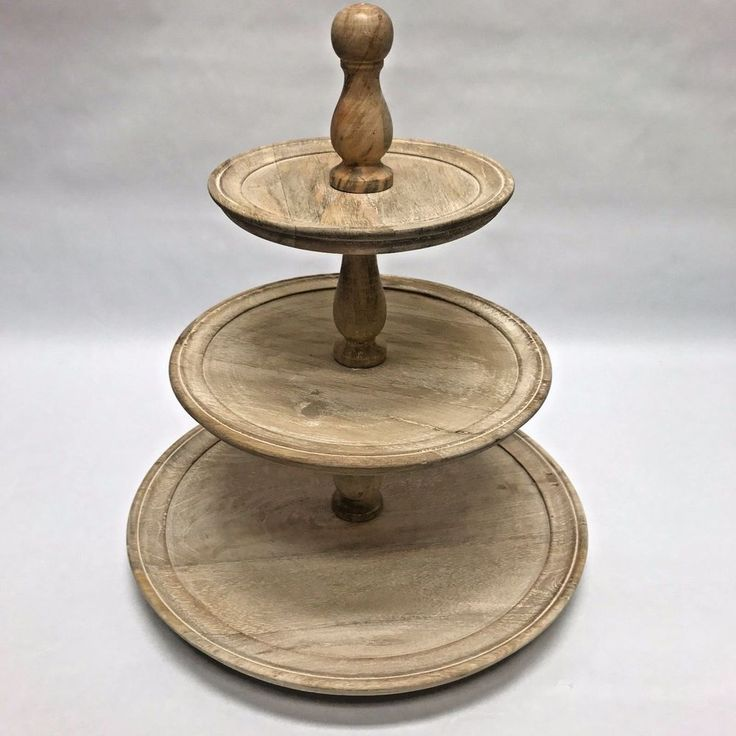 Cake stand dessert tower 3 tier appetizer stand wood white