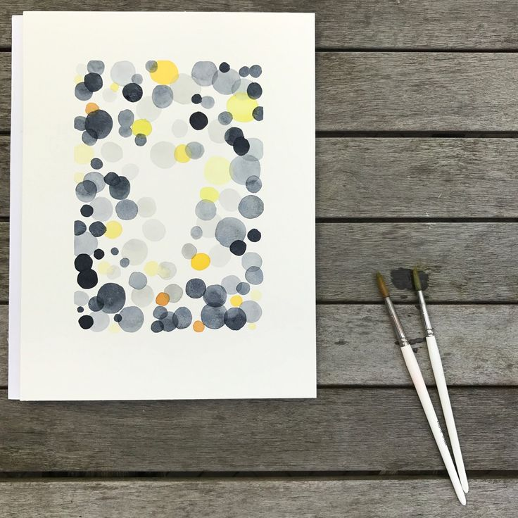Sundance Sunday A watercolor print with black, gray and yellow bubbles. Abstract decor for home or Office.