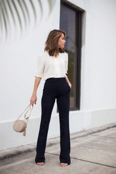 fall / winter - summer outfits - fall outfits - casual outfits - fall outfits - street style - street chic style - business casual - office wear - black flare pants + cream blouse + nude round shoulder bag + nude ankle strap heeled sandals