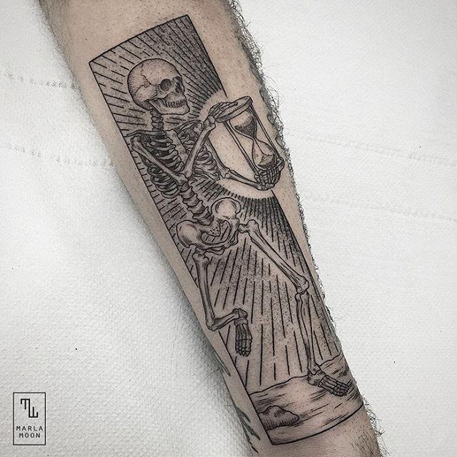 Skeleton tattoo - Marla Moon #linework #dotwork #engraving #blacktattooart…