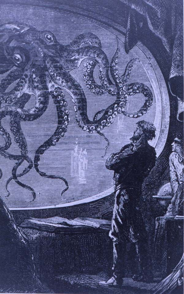 Captain Nemo observing a giant octopus from the viewing port of the submarine Nautilus, in Jules Verne's 20,000 Leagues under the Sea.