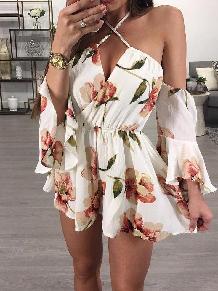 Stylish Floral Print Halter Casual Romper
