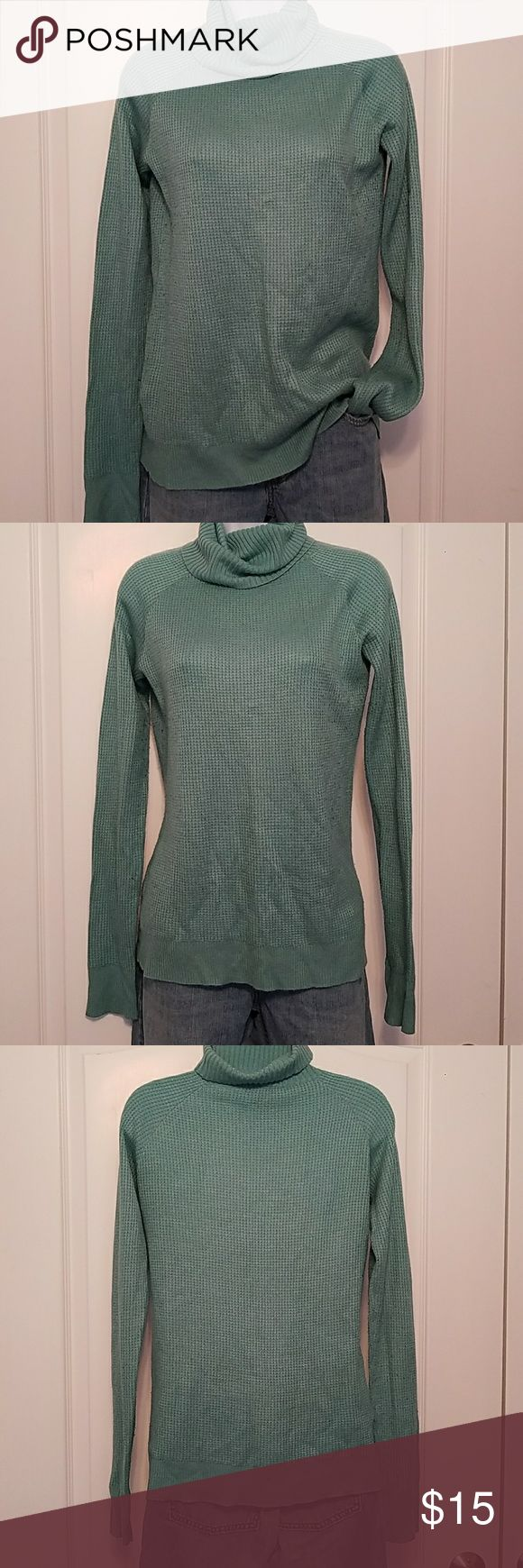 BCBG sweater Funnel neck waffle weave incredibly soft sweater in aqua green.  25 in long  25 inch long sleeves  10 inch funnel neck  Acrylic/nylon/spandex for a super soft feel and good stretch. 👉1 flaw noted under collar shown in last photo. Would fit size 4  to 10.  Bin 43 BCBGeneration Sweaters Cowl & Turtlenecks