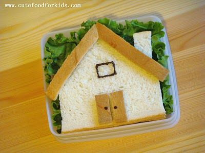 house: Kids Breakfast, Food Ideas, Edible Crafts, For Kids, Lunches, Breakfast Snacks, Sandwiches Houses, Cute Food, Kids Food