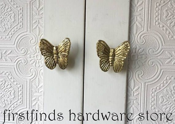Gold Butterfly Knobs Cabinet Drawer Pulls Painted Metal Butterflies Like Pottery  Barn Kids